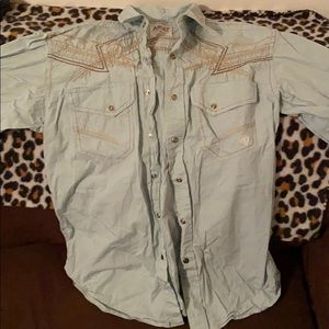 Embroidered men's button up